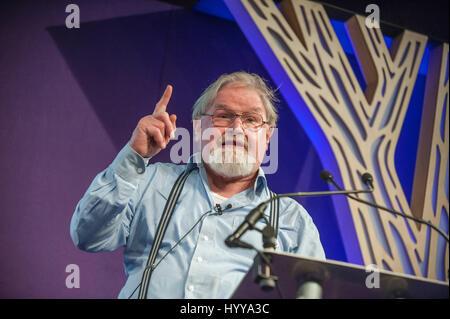 Alasdair Gray , Scottish writer and artist, on stage at the Edinburgh International Book Festival. 13th August 2014. - Stock Image