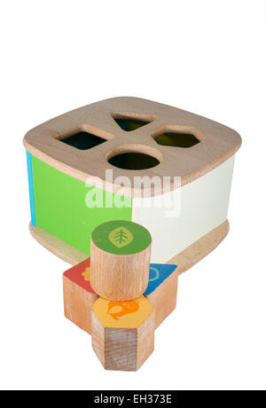 Picture of a baby wood block toy - Stock Image