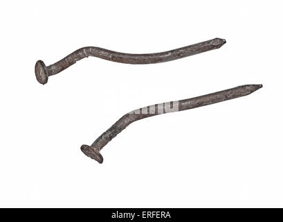 vintage rusty nails isolated over white, clipping path - Stock Image
