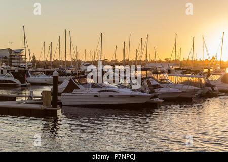 Boats docked in marina boatyard harbor at sunset Mandurah Western Australia - Stock Image