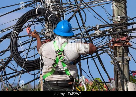 Fitter working on power line, Samara, Guanacaste Province, Costa Rica - Stock Image