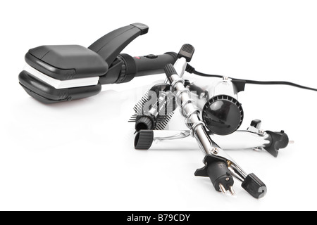 Hair styling set with straightener and curling accessories - Stock Image