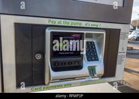 Asda pay at pump petrol pump, UK - Stock Image