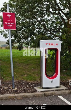 Tesla Charging Station, UK - Stock Image
