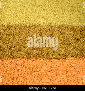 Mixed Selection of Healthy Natural Flax Seed Couscous and Red Lentils - Stock Image