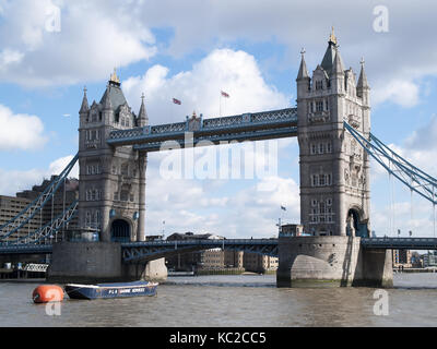 Tower Bridge - River Thames, London, England, UK - Stock Image
