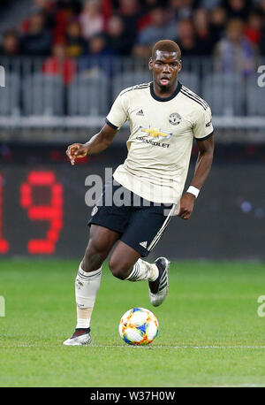 Optus Stadium, Perth, Western Australia. 13th July, 201913th July 2019, Optus Stadium, Perth, Western Australia; Pre-season friendly football, Perth Glory versus Manchester United; Paul Pogba of Manchester United runs the ball through the middle Credit: Action Plus Sports Images/Alamy Live News - Stock Image