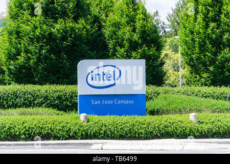 Intel sign in the Silicon Valley California USA - Stock Image