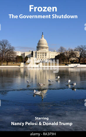 Frozen Government Shutdown Political Satire starring Nancy Pelosi and Donald Trump with US Capitol Reflecting Pool Washington DC, Winter, January 2018 - Stock Image