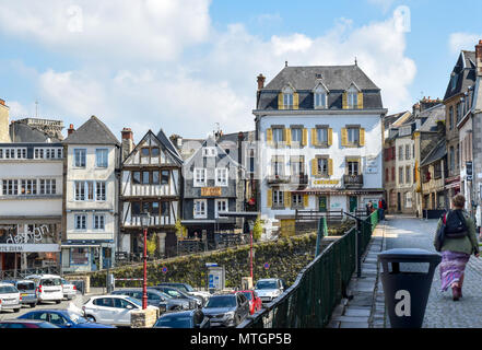 The old town of Morlaix is built on several levels. - Stock Image