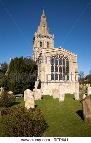 Side view of St Kyneburgha Church in the village of Castor, Peterborough, England, UK - Stock Image