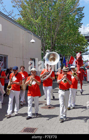 Marching band in the 2018 Canada Day Parade on Granville Island, Vancouver, British Columbia - Stock Image