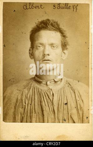 Antoine Joseph Albert, Guillotined, 1877, by Alphonse Bertillon - Stock Image