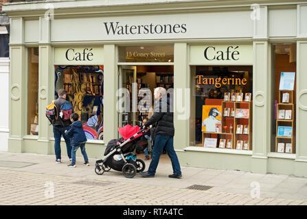 Waterstones bookshop York North Yorkshire England UK United Kingdom GB Great Britain - Stock Image