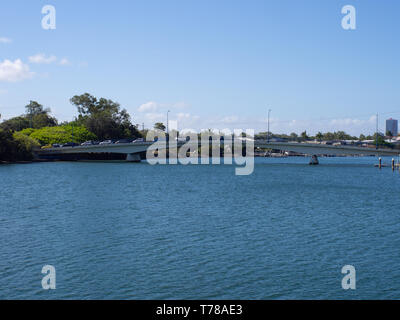 Traffic On A Bridge Over The Nerang River - Stock Image