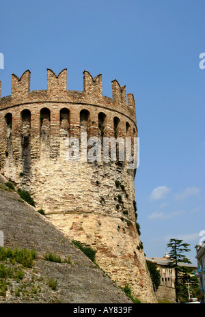 Ancient crenellated Tower in the city walls historic Tolentino Le Marche the Marches Italy - Stock Image