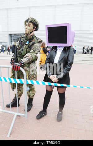 Participant of the 19th edition of the Pyrkon Fantasy Festival, which took place at the Poznan International Fair on April 26-28, 2019. Photo CTK/Grze - Stock Image