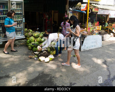 Lady opening coconut for freshing drink food stall outside entrance to Kuang Si Waterfalls Park also known as Tat Kuang Si Waterfalls - Stock Image