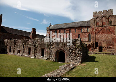 The cloisters in front of Lanercost Priory in Cumbria, northern England - Stock Image