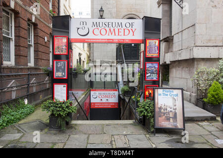 Entrance to Museum of Comedy, The Undercroft, St George's Church, Bloomsbury Way, Holborn, London, WC1, UK - Stock Image