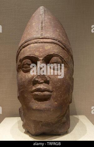 Scythian Head. 2nd Century. Kushan. New Delhi, India - Stock Image