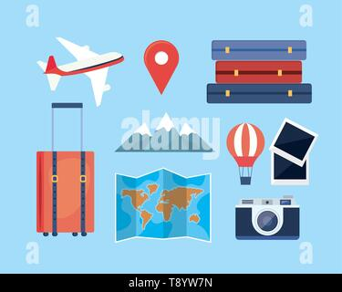 set of travel adventure with location and destination journey vector illustration - Stock Image