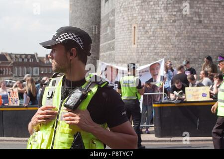 Windsor, UK. 13th July 2018. Windsor, UK - Protests as Donald Trump visits the Queen at Windsor Castle Credit: Andrew Spiers/Alamy Live News - Stock Image