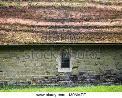 St Olave's Church in the parish of Ruckland, Lincolnshire Wolds, is said to be the smallest church in Lincolnshire, - Stock Image