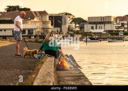 Poole, UK. 28th June 2018. UK weather. The sun sets over Poole Harbour on one of the hottest days on record. Two women have a BBQ and a dog comes over to look. Credit Thomas Faull / Alamy Live News - Stock Image