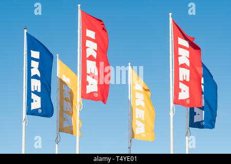 Ikea logo flags - Glasgow, UK - Stock Image