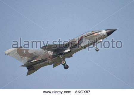 Rivolto Italia Air show 2005 Panavia Tornado IDS of Italian Air Force taking off, against clear blue sky - Stock Image