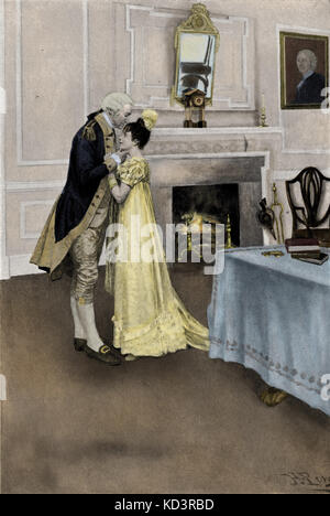 George Washington and Nellie Custis, 1790s. Eleanor Parke Custis Lewis (March 31, 1779 – July 15, 1852), granddaughter - Stock Image