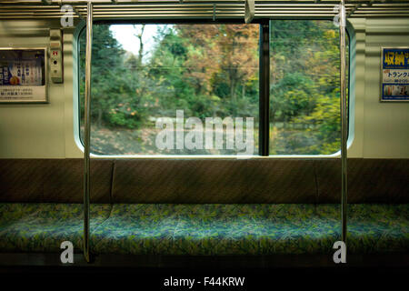 Empty train bench with window view  of green foliage - Stock Image
