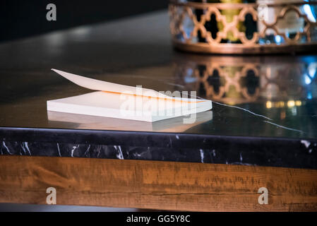 Close-up of a book on table - Stock Image