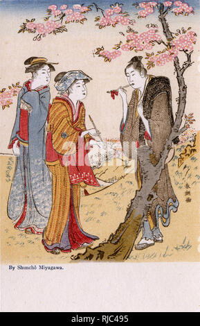 Three Women smoking pipes in a garden underneath a cherry blossom tree by Katsukawa Shuncho (fl. 1783 to circa 1795) - Stock Image