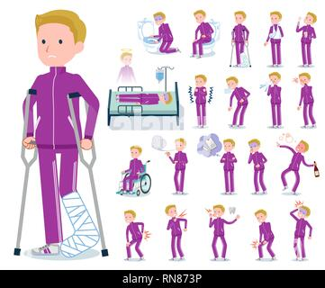 A set of school boy in sportswear with injury and illness.There are actions that express dependence and death.It's vector art so it's easy to edit. - Stock Image