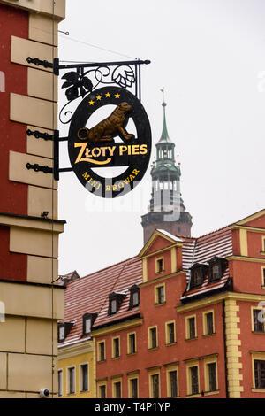 Sign for Zloty Pies, Wrocław, Wroclaw, Wroklaw, Poland - Stock Image