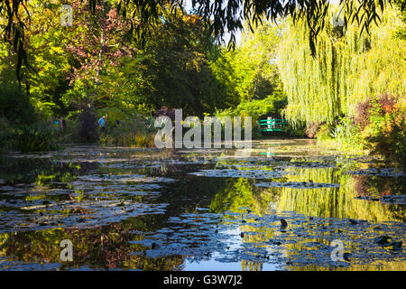 pool and garden in Monet's house, Giverny, France - Stock Image