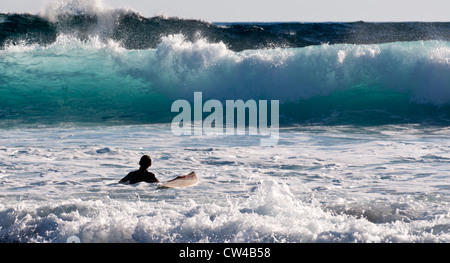 Surfer going into the surf at Moses Rock beach, Western Australia - Stock Image