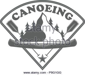 Emblem canoe club. Logo from forest of tmountain and canoe. For travel or club. Vector Stock Illustration - Stock Image