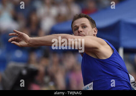 Ostrava, Czech Republic. 20th June, 2019. Petr Frydrych (Czech) competes in javelin throw during the Ostrava Golden Spike, an IAAF World Challenge athletic meeting, in Ostrava, Czech Republic, on June 20, 2019. Credit: Jaroslav Ozana/CTK Photo/Alamy Live News - Stock Image