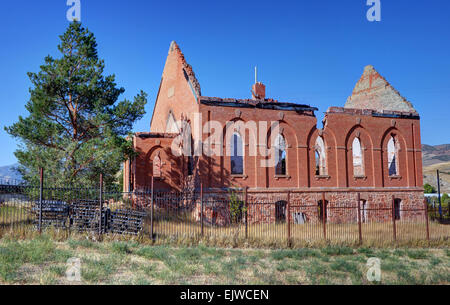 Historic Porterville, Utah Mormon church destroyed by fire in 2000. It was originally built in 1898. - Stock Image