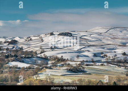 North Pennines AONB landscape, Kirkcarrion from Whistle Crag, Teesdale in winter - Stock Image
