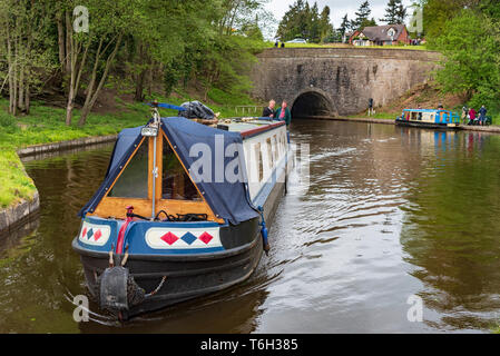 THe Shropshire Union canal at Chirk. The Chirk tunnel. - Stock Image