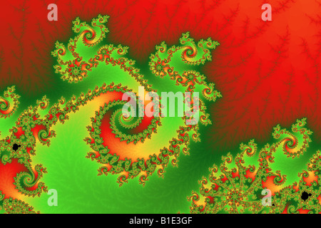 Three fractal twirling spirals - Stock Image