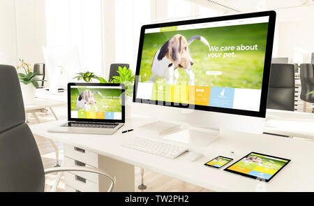 responsive pet website devices at loft office 3d rendering mockup - Stock Image