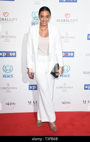 London, UK. 08th Apr, 2019. LONDON, UK. April 08, 2019: Amal Fashanu arriving for the Football for Peace initiative dinner by Global Gift Foundation at the Corinthia Hotel, London. Picture: Steve Vas/Featureflash Credit: Paul Smith/Alamy Live News - Stock Image