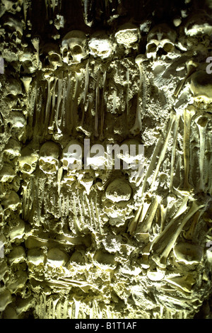 Wall decorated with human remains in the Chapel of Bones, Evora, Alentejo, Portugal, Europe - Stock Image