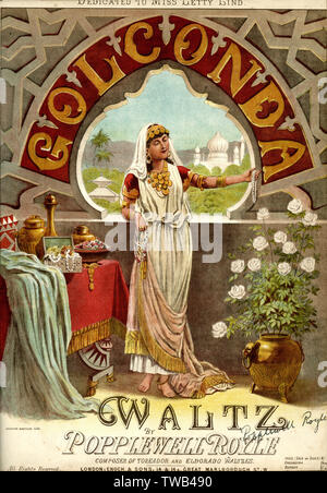 Music cover, Golconda Waltz, by Popplewell Royle.      Date: late 19th century - Stock Image