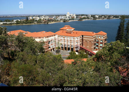 The iconic and historic Swan Brewery building on the banks of the Swan River at the base of Kings Park, Perth, Western - Stock Image